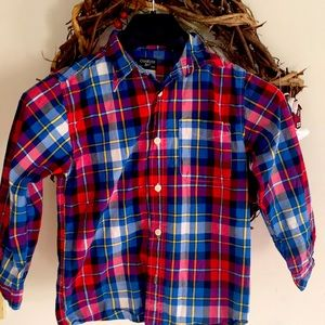 Oshkosh Long Sleeve Button Down red and blue shirt